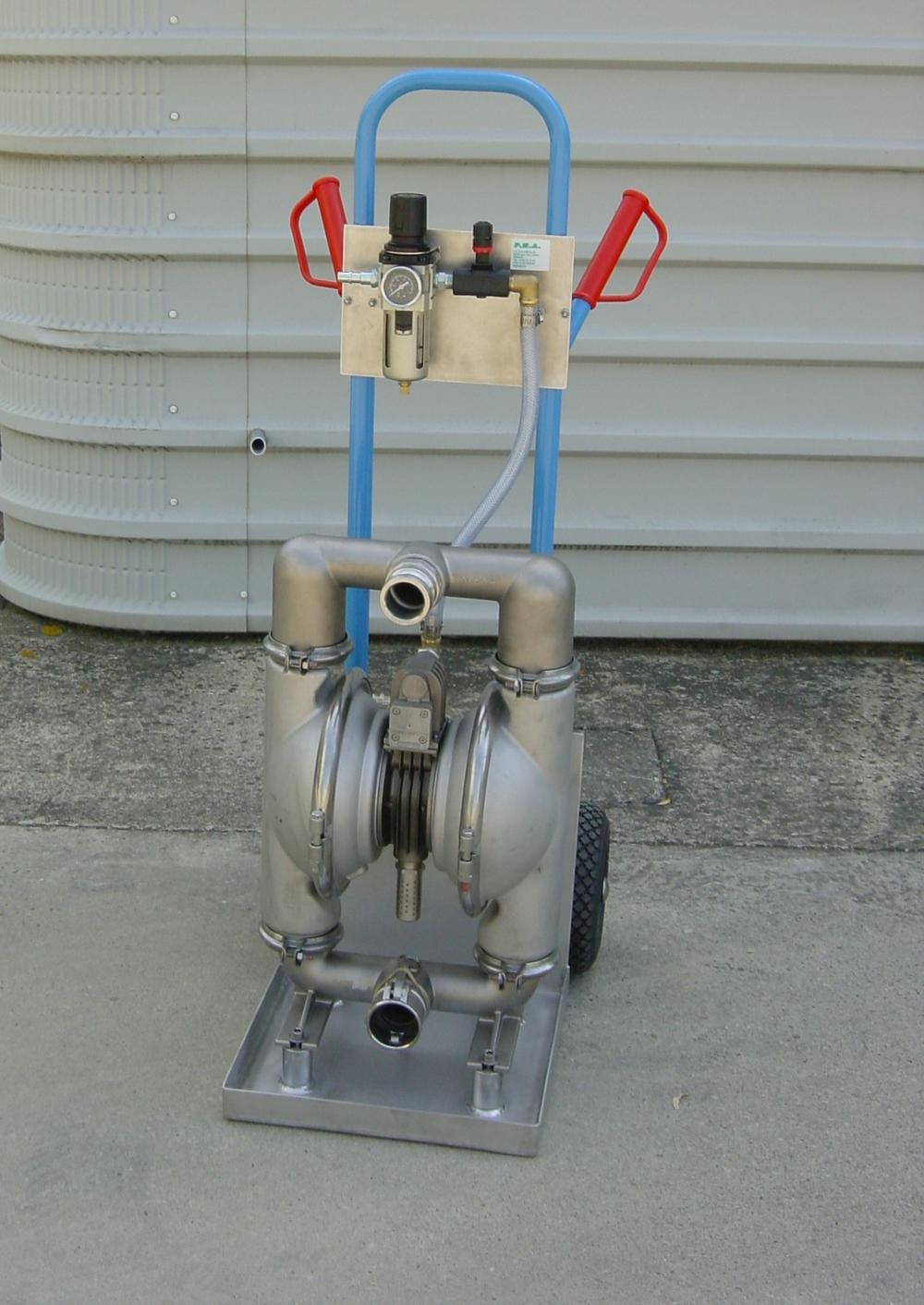 Air operated diaphragm pump on trolley - E2 INOX / EPDM -