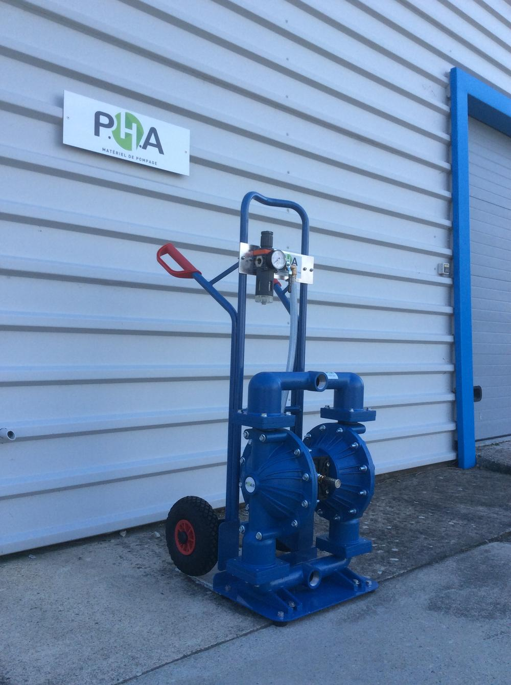 PHA'R FT20 air operated double diaphragm pump with trolley - Pompe PHA'R FT20 sur diable